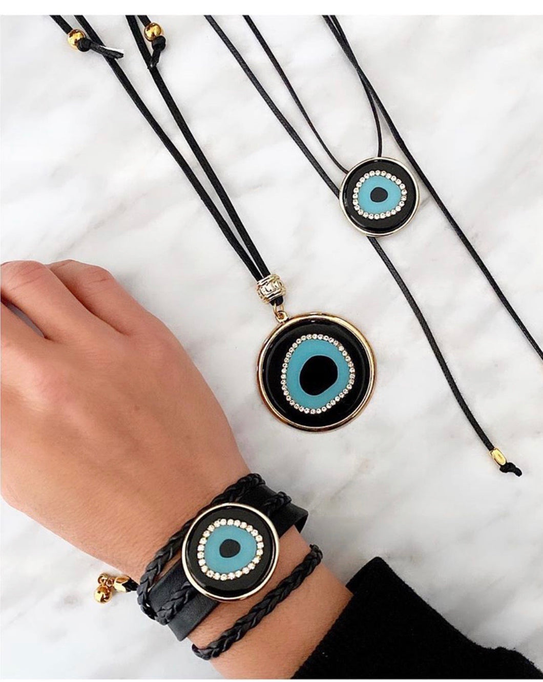 Black /Gold evil eye accessories