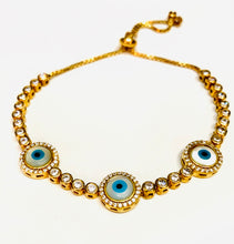 Load image into Gallery viewer, Sterling silver gold plated evil eye bracelet