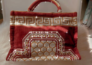 Greek meander tote handbag