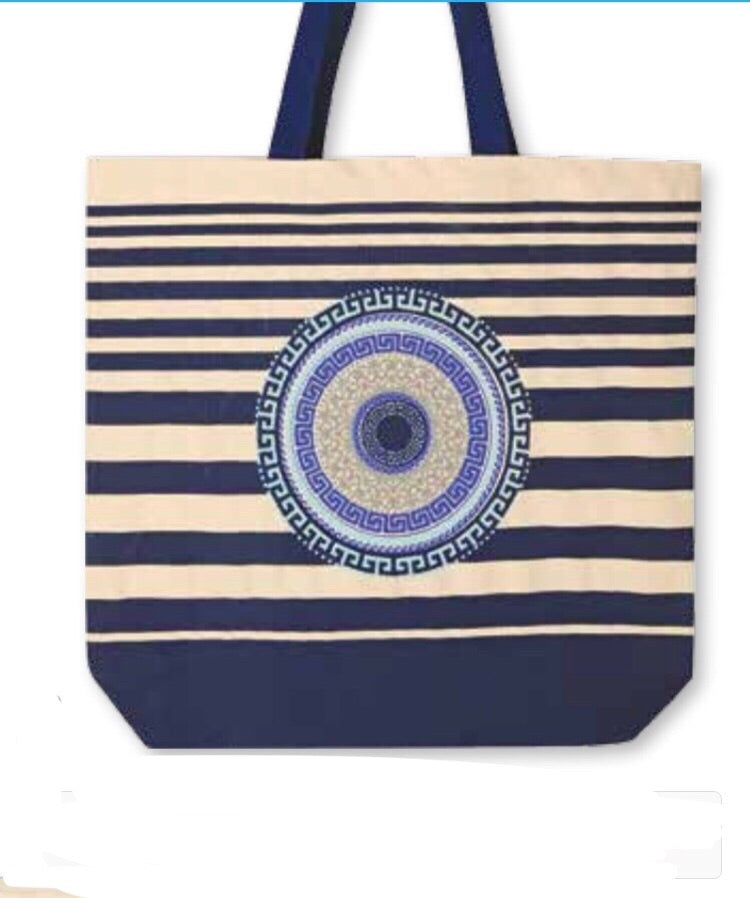 Blue strip canvas bag