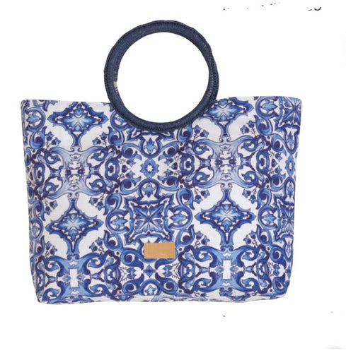 Blue print beach bag
