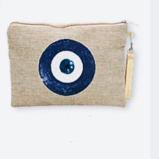 Evil eye canvas clutch