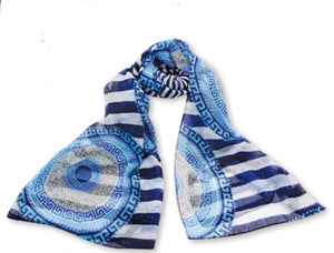 Evil eye /Greek key scarf