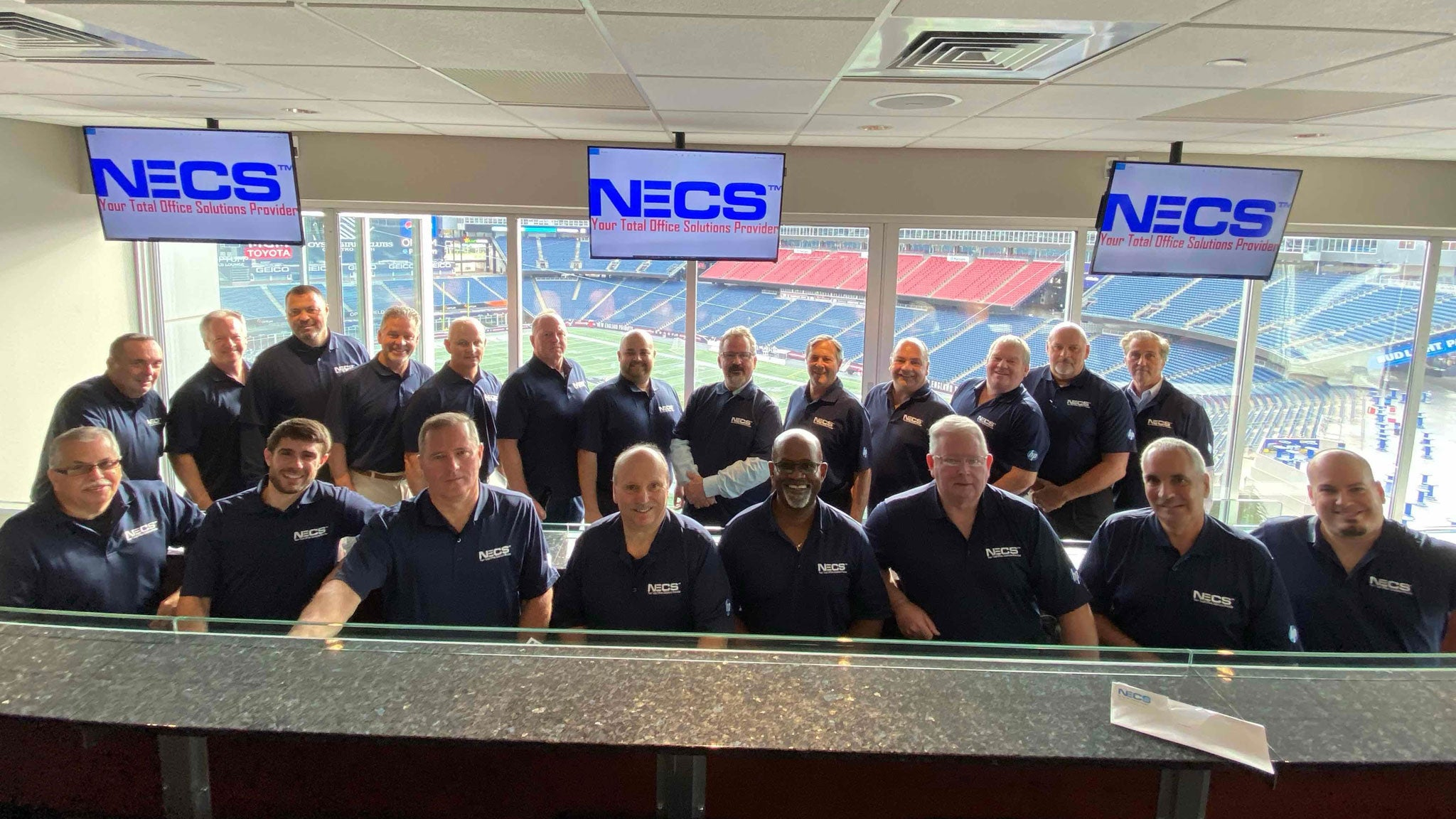 NECS Team at the Gillette Stadium for an Hp Conference