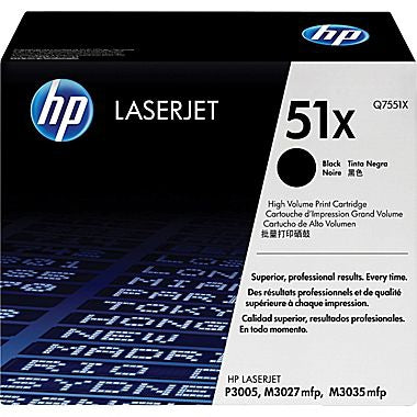 HP 51X (Q7551X) LaserJet M3027 MFP M3035 MFP P3005 High Yield Black Original LaserJet Toner Cartridge (13000 Yield)