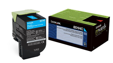 Lexmark (801HC) CX410 CX510 High Yield Cyan Return Program Toner Cartridge (3000 Yield)