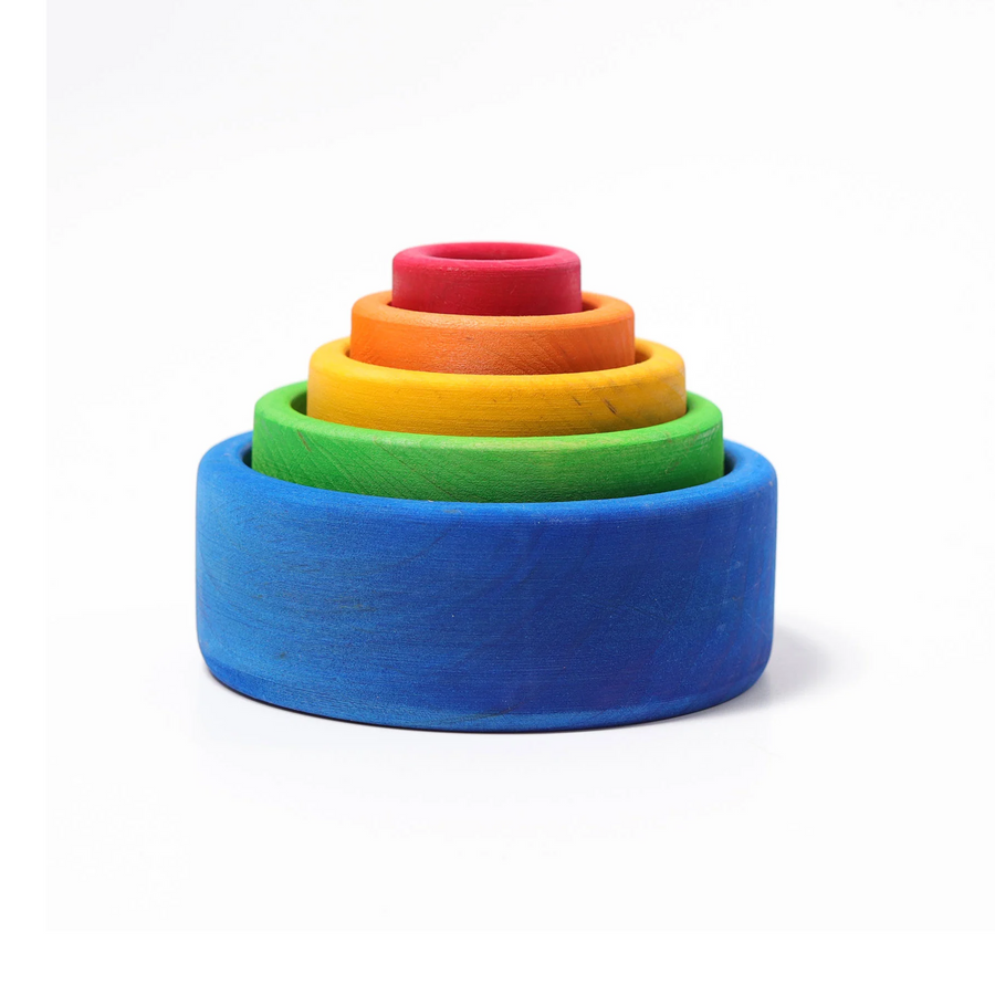 Grimm's Coloured Stacking Bowls - Blue