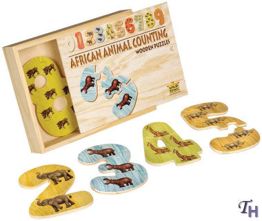 Wooden Counting Puzzles - African Animals
