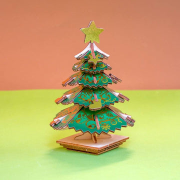 Kigumi - Christmas Tree Plywood Puzzle (coloured)