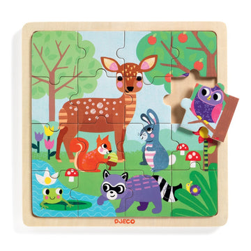 Djeco - Forest Wooden Puzzle 16pcs 3+