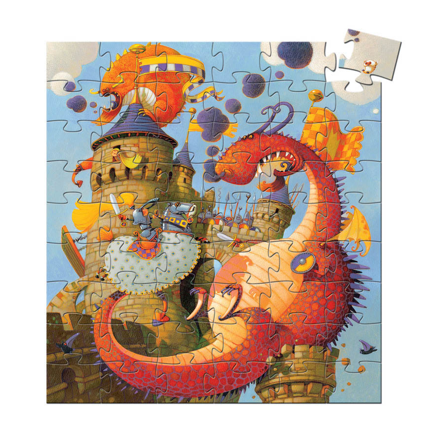 Djeco Silhouette Jigsaw Puzzle - Vaillant And The Dragon 54pc 5+