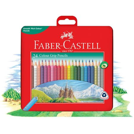 Faber-Castell 24 Colour Grip Pencils in tin box