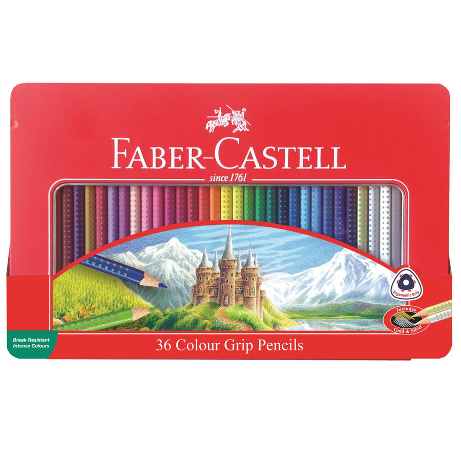 Faber-Castell 36 Colour Grip Pencils in tin box