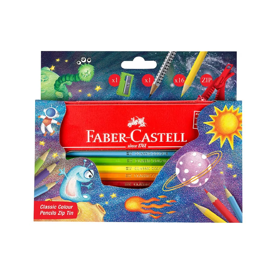 Faber-Castell 16 Colour Pencils and more in zip tin case