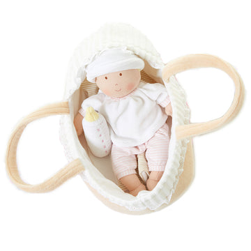 Bonnika Grace Baby Doll in Carry Cot With Bottle & Blanket