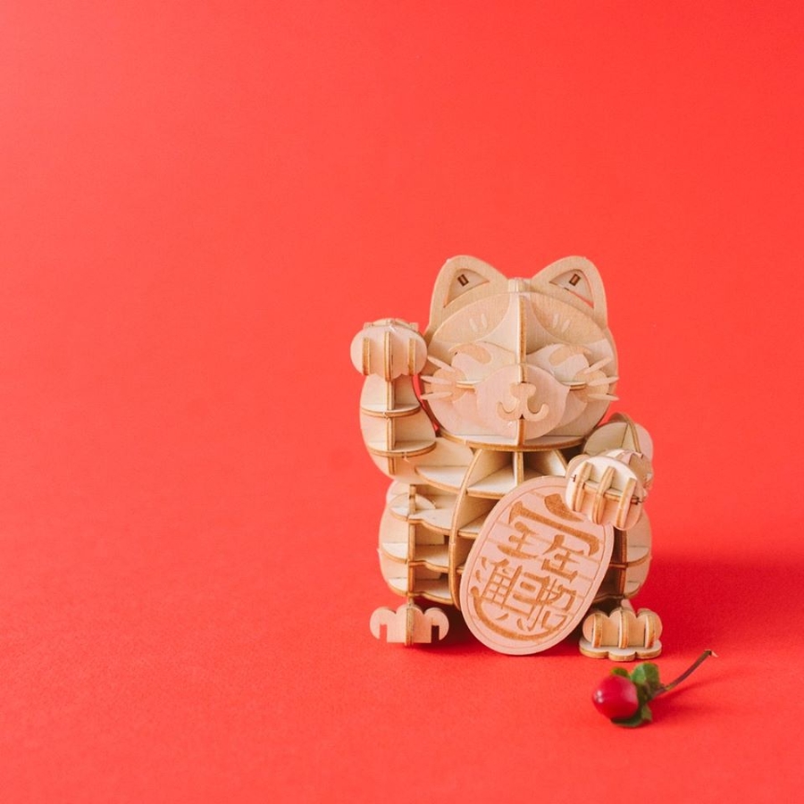 Kigumi - Lucky Cat 3D wooden puzzle