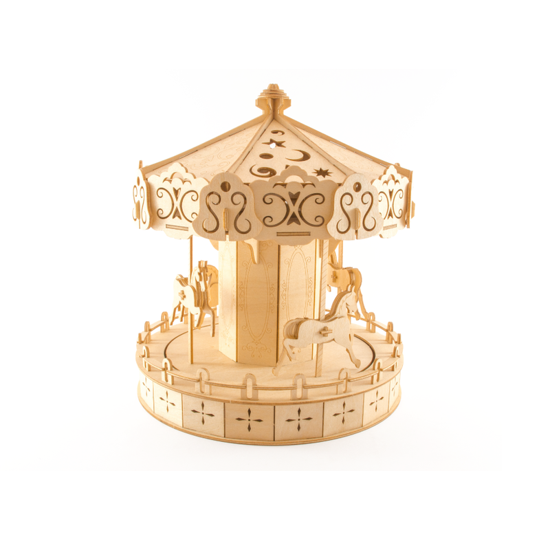 Kigumi - Spinning Carousel Plywood Puzzle