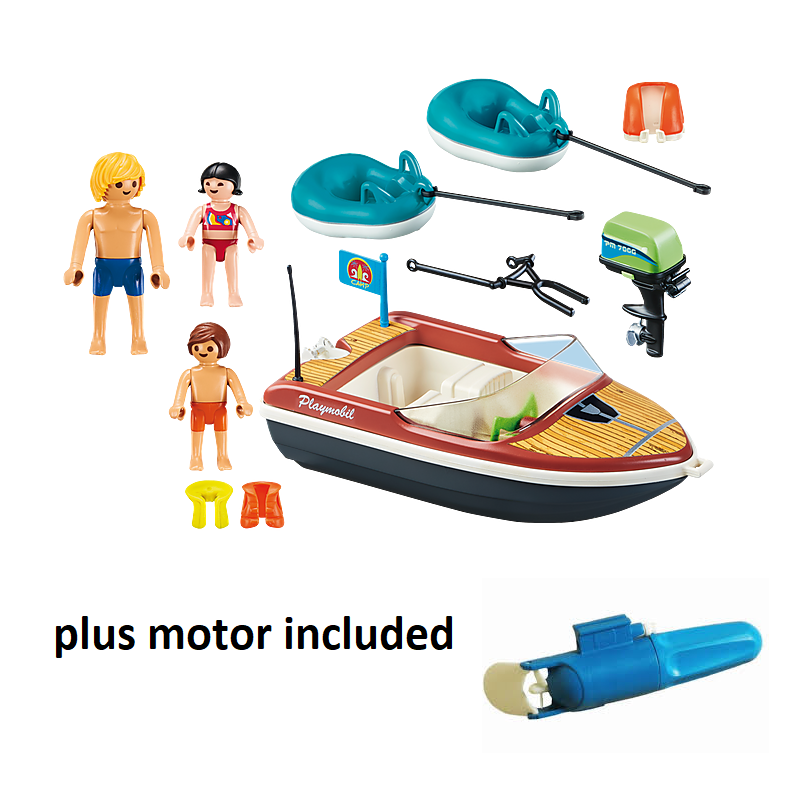 Playmobil - 70091 + 5159 Motorised Speedboat with 2 Tube Riders