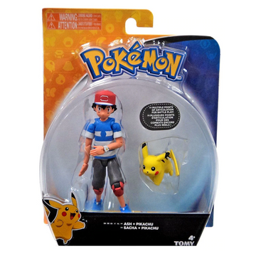 Pokemon Ash & Pikachu Action Figure (Striped Shirt) Tomy