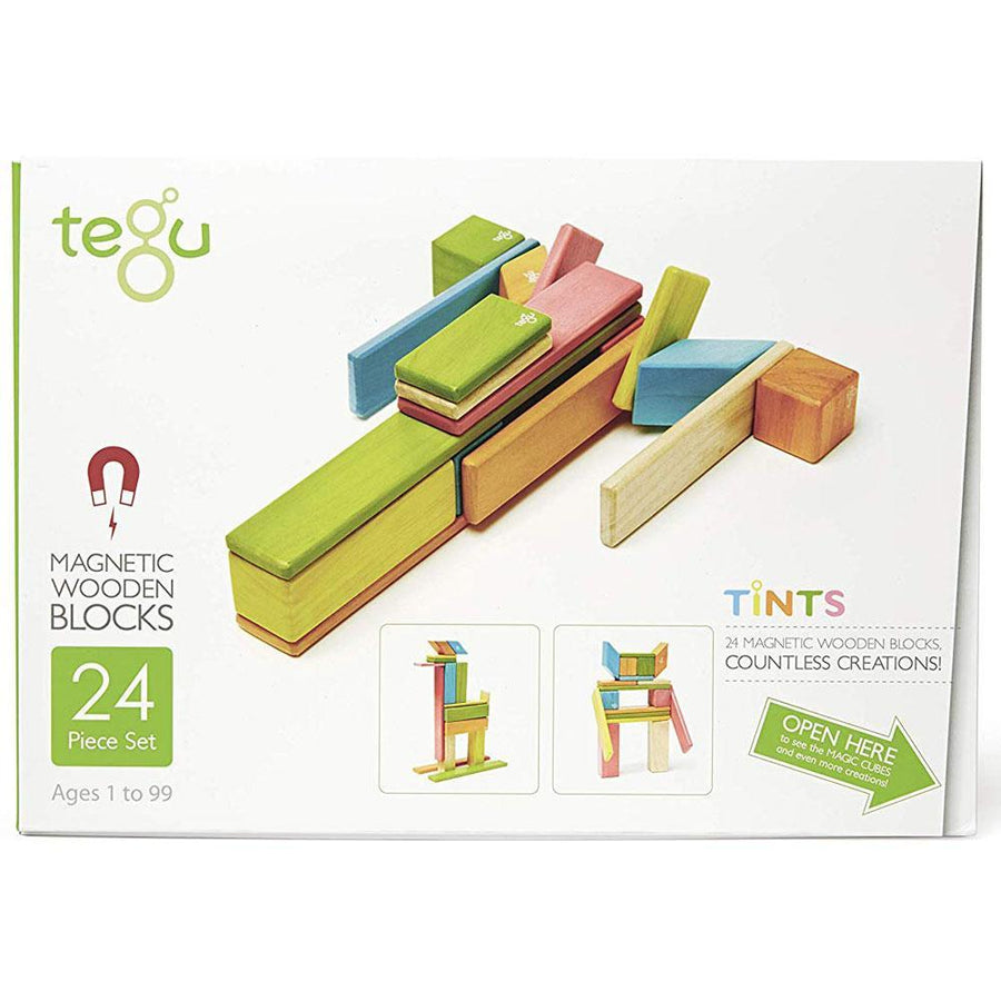 Tegu - Magnetic Wooden Blocks 24pc - Tints