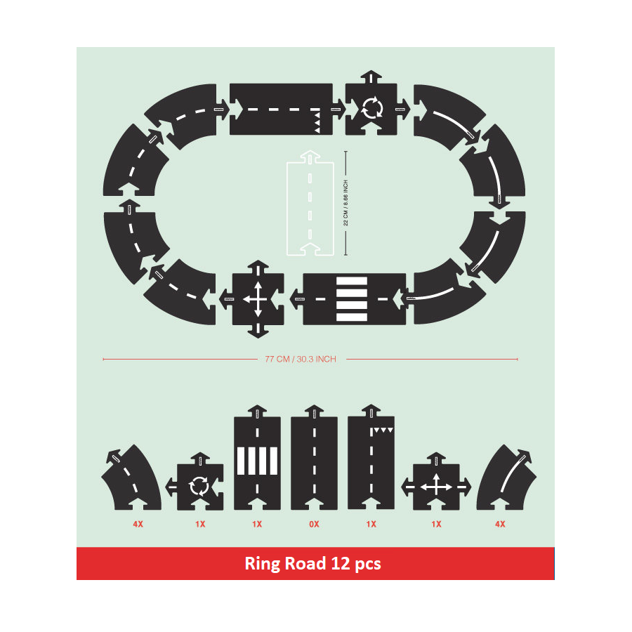 Waytoplay - 12pc Ring Road - Flexible Toy Road