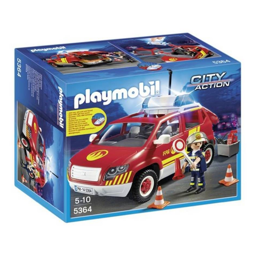 Playmobil - Fire Chief's Car with Lights and Sound Play Set
