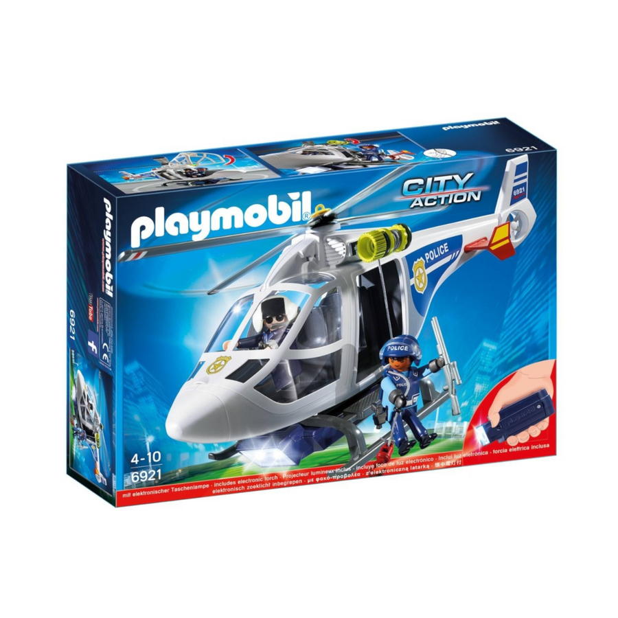 Playmobil - Police Helicopter with LED Searchlight Play Set