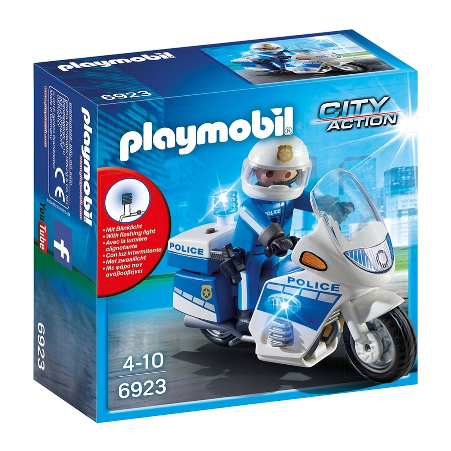 Playmobil - 6923 Police Figure on Bike with LED Light