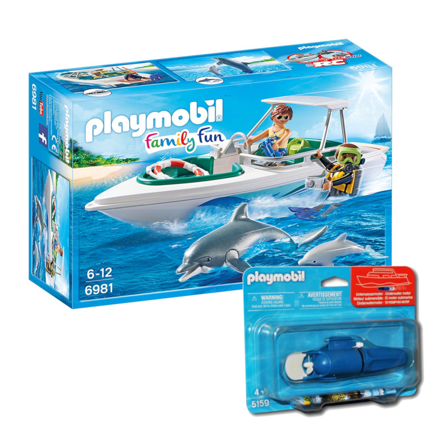 Playmobil - 6981 Driving Trip with Speedboat w/ 5159 Underwater Motor