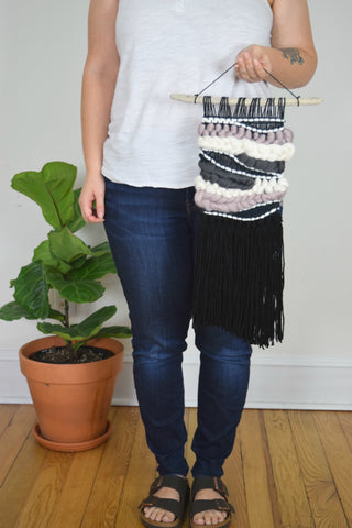 Small Woven Wall Hanging in Black and Mauve