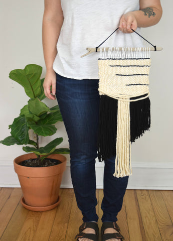 Small Woven Wall Hanging in Black Stripes