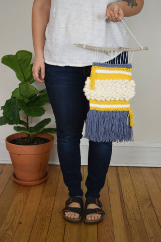 Small Woven Wall Hanging in Blue and Yellow