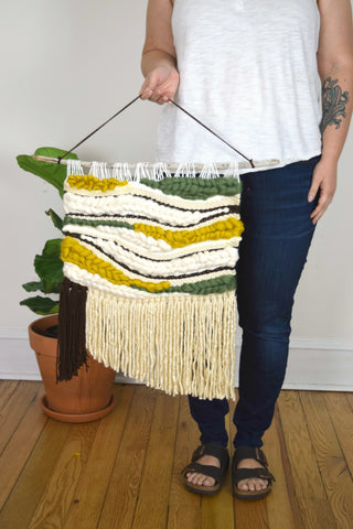 Large Woven Wall Hanging in Mustard and Olive