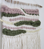 Woven Wall Hanging in Mauve and Olive
