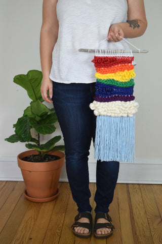 Small Woven Wall Hanging in Rainbow Weave