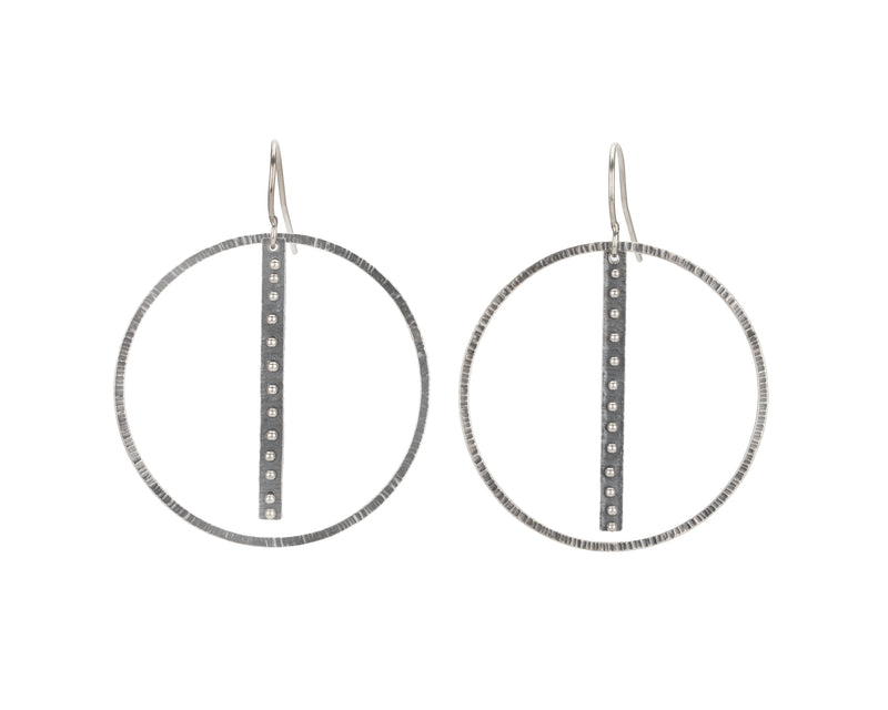 Linear Dot Hoop Earrings