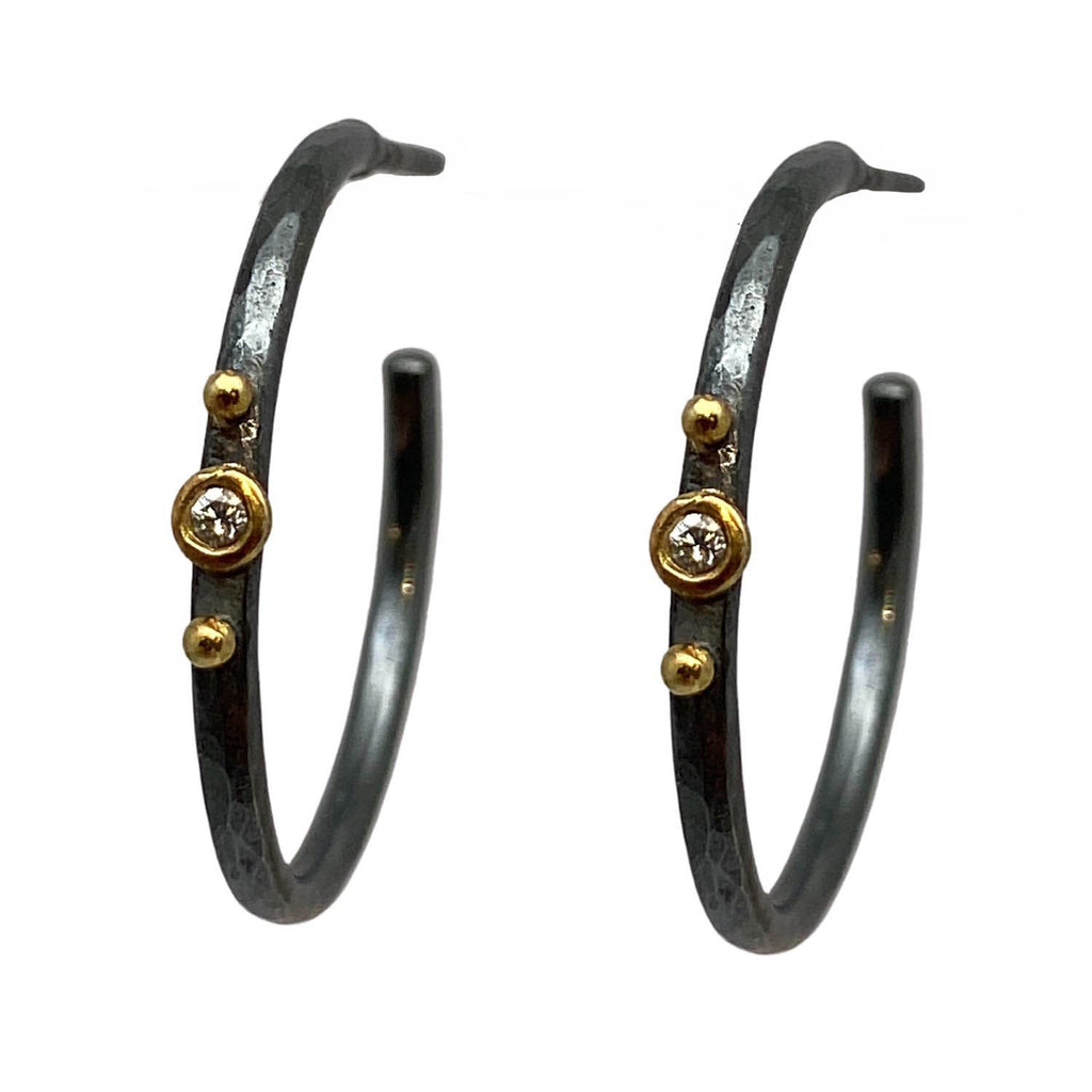 Diamond Dot Hoops