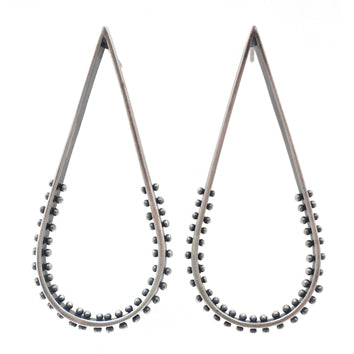 Large Linear Droplet Dot Earrings