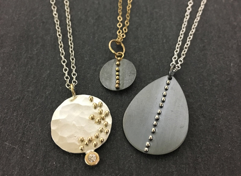Gold Dot Disc Necklace