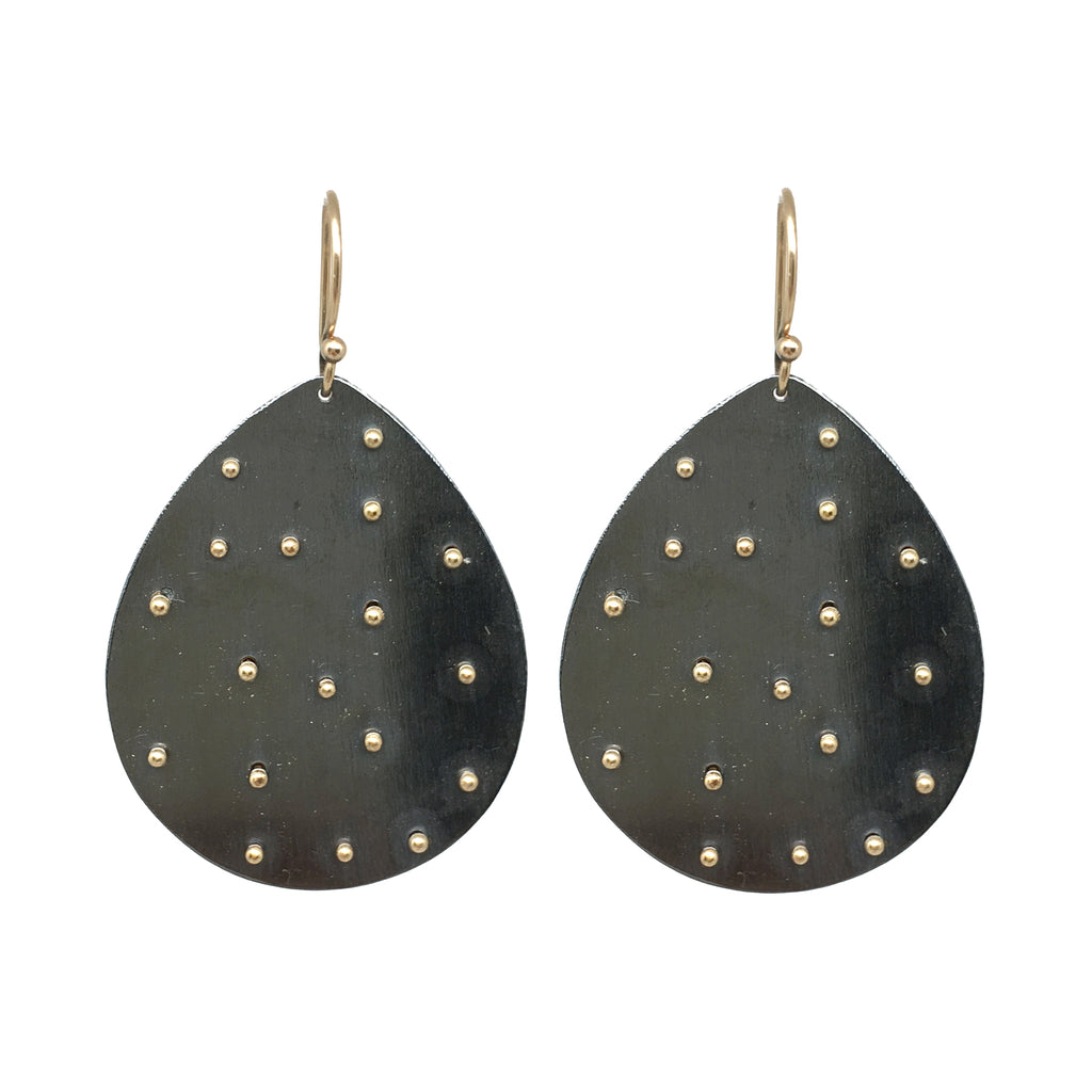 Scattered Dot Leaf Earrings