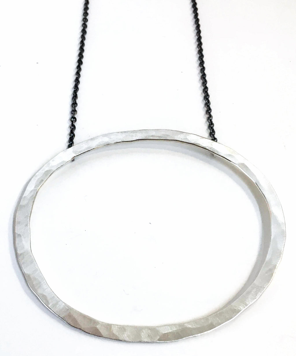 XL Oval Hammered Necklace