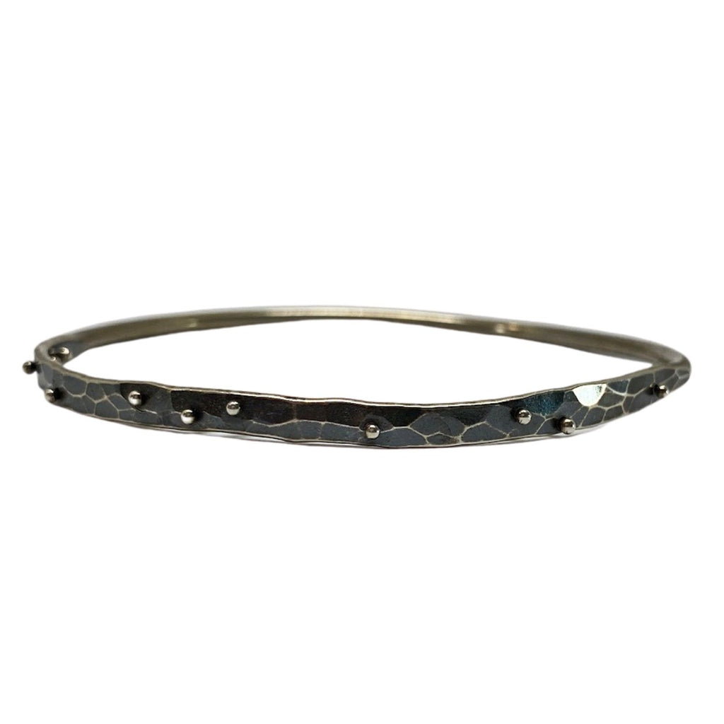 1/2 Planished Scattered Dot Bangle