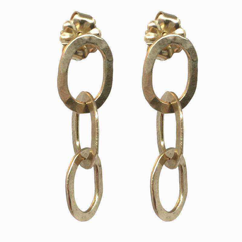 Gold Triple Link Earrings