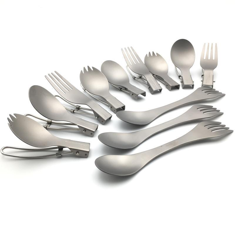 Titanium Fold-able Cutlery for Outdoor Picnic