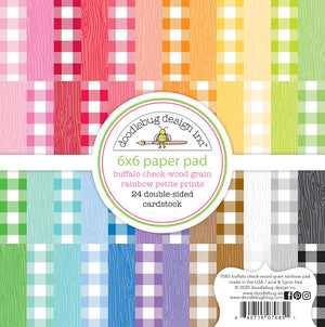 Doodlebug 12X12 Petite Prints Buffalo Check and Wood Grain Rainbow