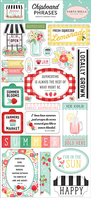 Carta Bella Paper - Summer Market Collection - Chipboard Stickers - Phrases