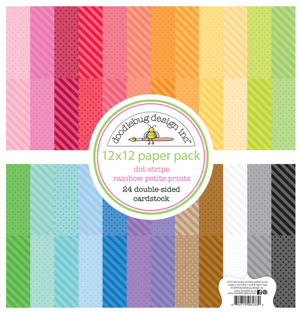 Doodlebug 12X12 Petite Print Dots and Stripes Paper Pack
