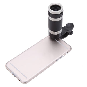 Universal 8X Zoom Phone Telephoto Camera Lens with Clip for iPhone Samsung HTC Photography Accessory
