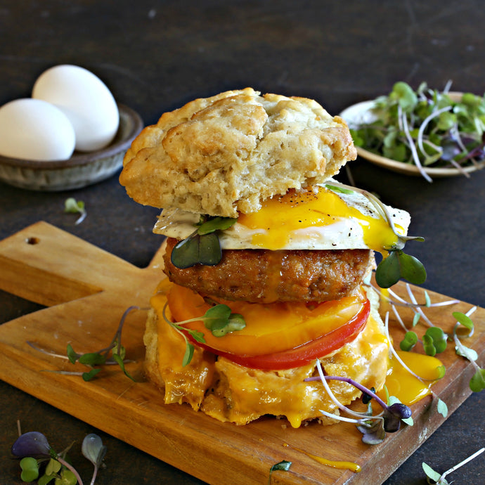 Breakfast Egg, Chicken and Cheese Biscuit Sandwich
