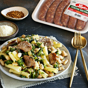 Broccoli Rabe With Sausage And Beans Over Pasta